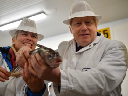 Britain's Prime Minister and Conservative leader Boris Johnson poses holding a fish with Conservative candidate for Great Grimsby Lia Nici (L) during a general election campagin visit to Grimsby Fish Market in Grimsby, northeast England, on December 9, 2019. - Britain will go to the polls on December 12, 2019 …
