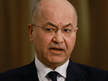 "Iraq's President Barham Salih speaks during an interview with The Associated Press in Baghdad, Iraq, Friday, March 29, 2019. Salih says he does not see any ""serious"" opposition when it comes to the presence of American forces in Iraq as long as they are there for the specific mission of …"