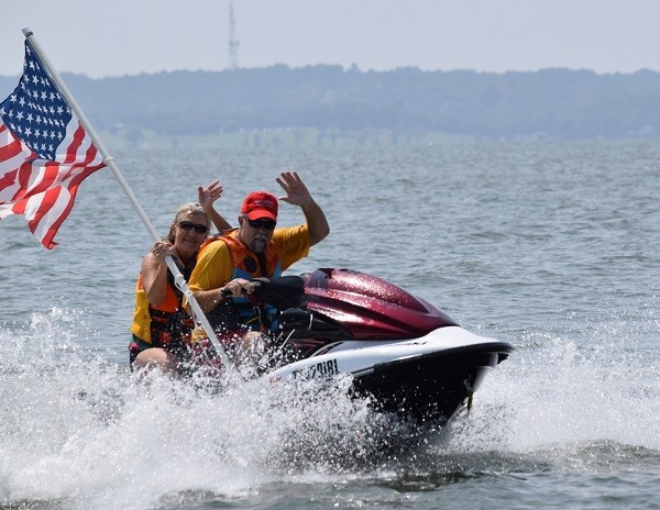Jet skis also joined in to support the Trump Boat Parade. (Photo: Lana Shadwick/Breitbart Texas)