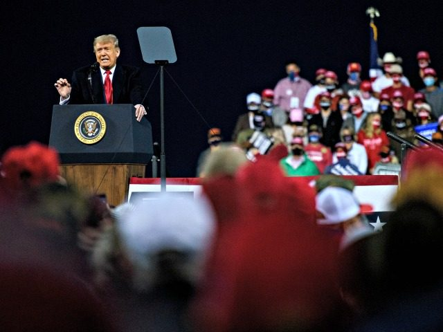 FAYETTEVILLE, NC - SEPTEMBER 19: U.S. President Donald Trump addresses supporters during a Make America Great Again campaign rally on September 19, 2020 in Fayetteville, North Carolina. Thousands joined for the rally where President Trump announced his plan to appoint a female to the Supreme Court after the death of …