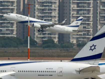 A picture taken on August 31, 2020, shows the El Al's airliner, which will carry a US-Israeli delegation to the UAE following a normalisation accord, lifting off from the tarmac in the first-ever commercial flight from Israel to the UAE at the Ben Gurion Airport near Tel Aviv. (Photo by …