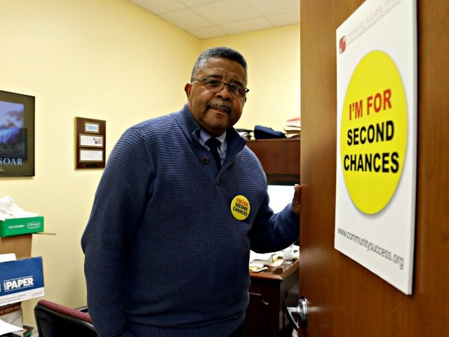 In this photo taken Wednesday, Dec. 18, 2019 Dennis Gaddy, the co-founder of the Raleigh-based Community Success Initiative, is shown at the door to his office in Raleigh, N.C. Gaddy, 62, served time behind bars and said he was unable to vote for seven years after being released from prison …
