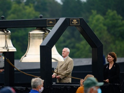 SHANKSVILLE, PA - SEPTEMBER 11:The ringing of bells as names are called during a ceremony at the Flight 93 National Memorial commemorating the 19th anniversary of the crash of Flight 93 and the September 11th terrorist attacks on September 11, 2020 in Shanksville, Pennsylvania. The nation is marking the nineteenth …