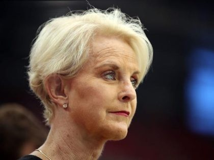 GLENDALE, AZ - SEPTEMBER 09: Cindy McCain, wife of the late U.S. Senator John McCain stands on the sidelines before the game between the Arizona Cardinals and the Washington Redskins at State Farm Stadium on September 9, 2018 in Glendale, Arizona. (Photo by Christian Petersen/Getty Images)