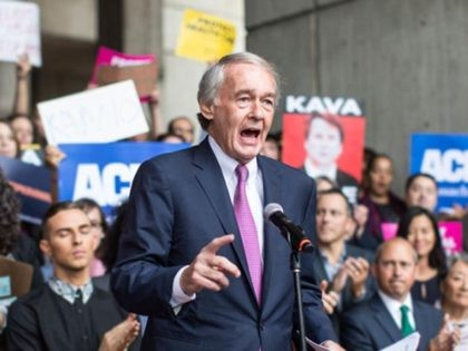 BOSTON, MA - OCTOBER 01: Sen. Ed Markey (D-MA) speaks at a rally calling on Sen. Jeff Flake (R-AZ) to reject Judge Brett Kavanaugh's nomination to the Supreme Court on October 1, 2018 in Boston, Massachusetts. Sen. Flake is scheduled to give a talk at the Forbes 30 under 30 …