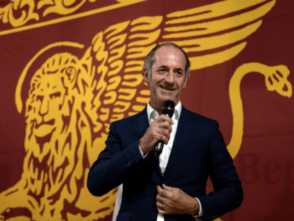 President of Veneto Region Luca Zaia gives a speech during a Lega Nord (Northern League) party rally in Conselve, near Padua, on August 30, 2019. - Italy's political crisis was triggered on August 8 when Matteo Salvini withdrew his far-right League party from the governing coalition with M5S and called …