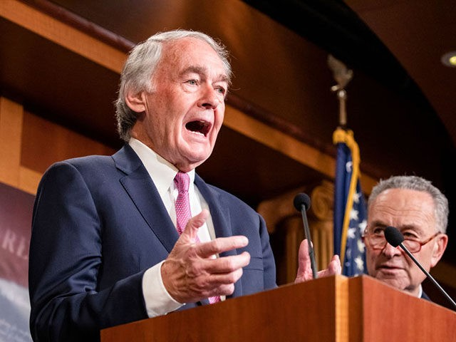 WASHINGTON, DC - JANUARY 24: Senator Ed Markey (D-MA) speaks during a press conference on the Senate impeachment trial of President Donald Trump on January 24, 2020 in Washington, DC. Democratic House managers conclude their opening arguments on Friday as the Senate impeachment trial of President Donald Trump continues into …