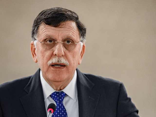 President of the Presidency Council of the Government of National Accord of Libya Faiez Mustafa Serraj delivers a speech at the UN Human Rights Council's main annual session on February 24, 2020 in Geneva. (Photo by Fabrice COFFRINI / AFP) (Photo by FABRICE COFFRINI/AFP via Getty Images)