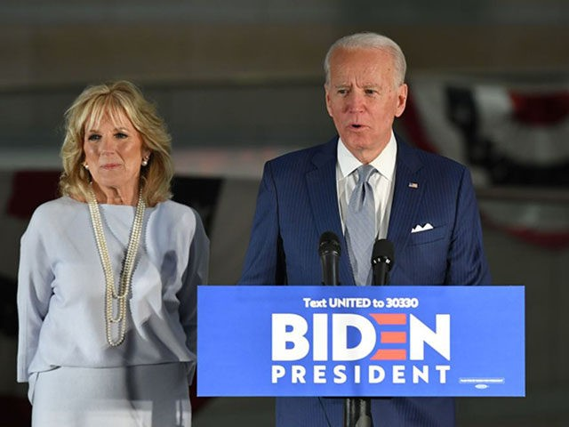 Democratic presidential hopeful former Vice President Joe Biden speaks, flanked by his wife Jill Biden, at the National Constitution Center in Philadelphia, Pennsylvania on March 10, 2020. (Photo by MANDEL NGAN / AFP) (Photo by MANDEL NGAN/AFP via Getty Images)