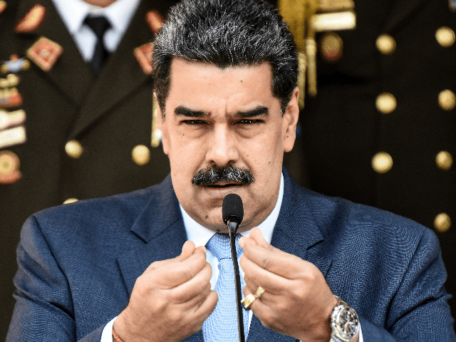President of Venezuela Nicolas Maduro speaks during a press conference at Miraflores Government Palace on March 12, 2020 in Caracas, Venezuela. Maduro announced a travel ban for travelers flying in from Europe and Colombia and restricted gatherings and massive events in an attempt to stem the proliferation of the COVID-19 …