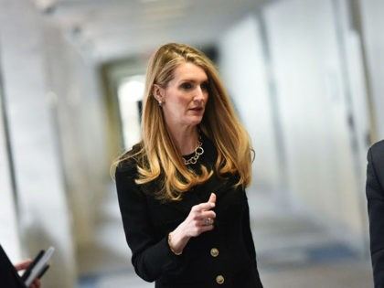 US Senator Kelly Loeffler, R-GA, arrives for the Republican policy luncheon at the Hart Senate Office Building in Washington, DC on March 19, 2020. - Loeffler and Senator Richard Burr are facing calls to resign after it was reported that the Republican lawmakers sold stock holdings before the COVID-19 epidemic …