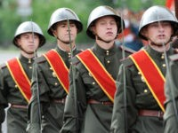 CHITA, RUSSIA - JUNE 24: Parade formations during a Victory Day military parade, marking the 75th anniversary of the victory in World War II, on June 24, 2020 in Chita, Russia. The 75th-anniversary marks the end of the Great Patriotic War when the Nazi's capitulated to the then Soviet Union. …