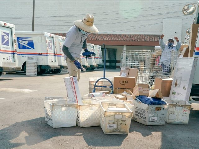 "Postal workers sort, load and deliver mails as protesters hold a ""Save the Post Office"" demonstration outside a United States Postal Service location in Los Angeles, California, on August 22, 2020. - Postmaster General Louis DeJoy on August 21 denied claims he was working to undermine mail delivery, after comments …"