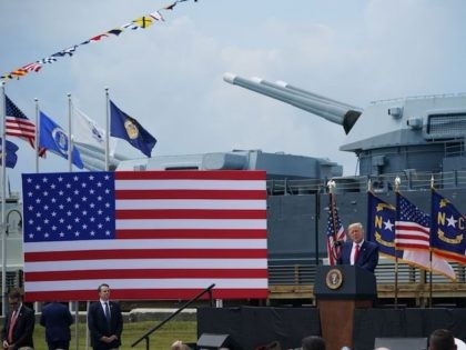 US President Donald Trump speaks at the Battleship North Carolina in Wilmington, North Carolina, on September 2, 2020, the 75th anniversary of the end of WWII. - Trump designated Wilmington as the first US World War II Heritage City. (Photo by MANDEL NGAN / AFP) (Photo by MANDEL NGAN/AFP via …