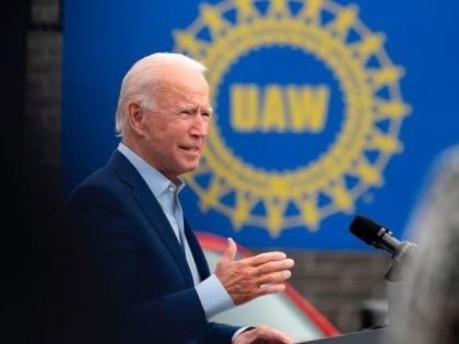 Democratic presidential candidate Joe Biden speaks at the United Auto Workers (UAW) Union Headquarters in Warren, Michigan, on September 9, 2020. (Photo by JIM WATSON / AFP) (Photo by JIM WATSON/AFP via Getty Images)
