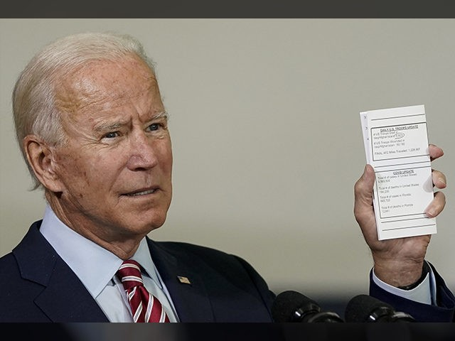 TAMPA, FL - SEPTEMBER 15: Democratic presidential nominee and former Vice President Joe Biden holds up a copy of his daily schedule, which includes statistics about how many U.S. troops have died while serving in Afghanistan and Iraq and updates about the coronavirus caseload in the United States, while speaking …