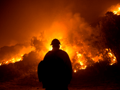 A firefighter watches the Bobcat Fire burning on hillsides near Monrovia Canyon Park in Monrovia, California on September 15, 2020. - A major fire that has been raging outside Los Angeles for more than a week threatened to engulf a historic observatory and billion-dollar broadcast towers on September 15 as …