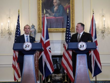 British Foreign Secretary Dominic Raab (L) speaks at a press conference with US Secretary of State Mike Pompeo at the State Department in Washington, DC, on September 16, 2020. (Photo by NICHOLAS KAMM / POOL / AFP) (Photo by NICHOLAS KAMM/POOL/AFP via Getty Images)