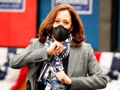 Democratic Vice Presidential Nominee Senator Kamala Harris (D-CA) gestures outside Headliners Barbershop on September 22, 2020 in Detroit, Michigan. (Photo by JEFF KOWALSKY / AFP) (Photo by JEFF KOWALSKY/AFP via Getty Images)