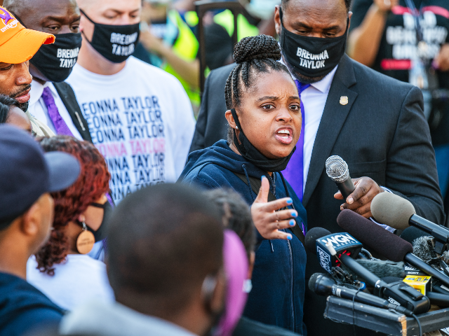 Civil rights activist Tamika Mallory (C) of Until Freedom speaks during a press conference at Jefferson Square Park on September 25, 2020 in Louisville, Kentucky. The press conference addressed Kentucky Attorney General Daniel Cameron's handling of the Breonna Taylor case and the grand jury verdict indicting one of three officers …