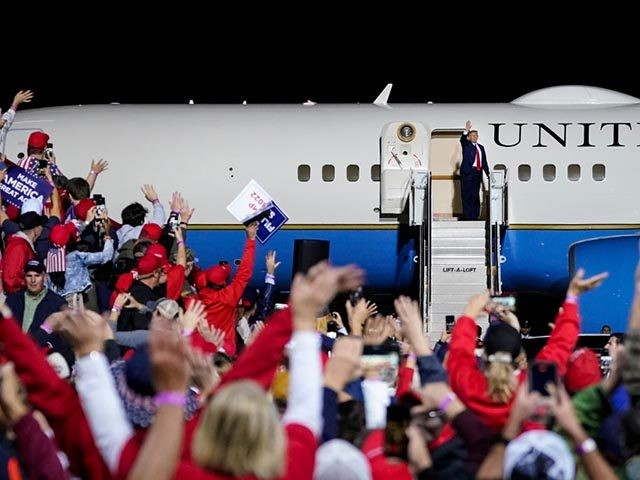 NEWPORT NEWS, VA - SEPTEMBER 25: U.S. President Donald Trump boards Air Force Once at the end of a campaign rally at Newport News/Williamsburg International Airport on September 25, 2020 in Newport News, Virginia. President Trump is scheduled to announce his nomination to the Supreme Court to replace the late …