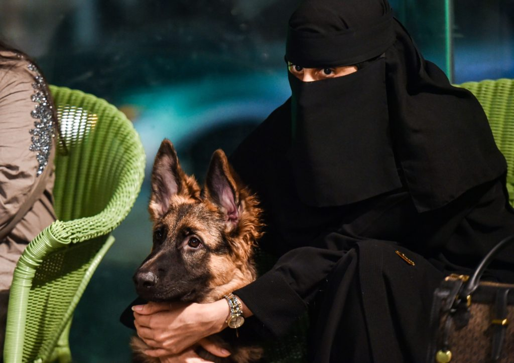 """A woman sits with her German Shepherd at the """"Barking Lot"""" cafe in Saudi Arabia's eastern Gulf city of Khobar, 450 kilometres east of the capital, on September 25, 2020. - Dog owners in Saudi Arabia can now enjoy a cup of coffee outside their home alongside their beloved pets in a new cafe -- a first for the ultra-conservative kingdom. The Barking Lot, which opened its doors in June in the coastal city of Khobar, has brought them much relief amid restrictions on animals in public places. Dogs are generally prohibited from walking in public and, unlike cats, are considered unclean in Islam, which originated in Saudi Arabia. (Photo by FAYEZ NURELDINE / AFP) (Photo by FAYEZ NURELDINE/AFP via Getty Images)"""