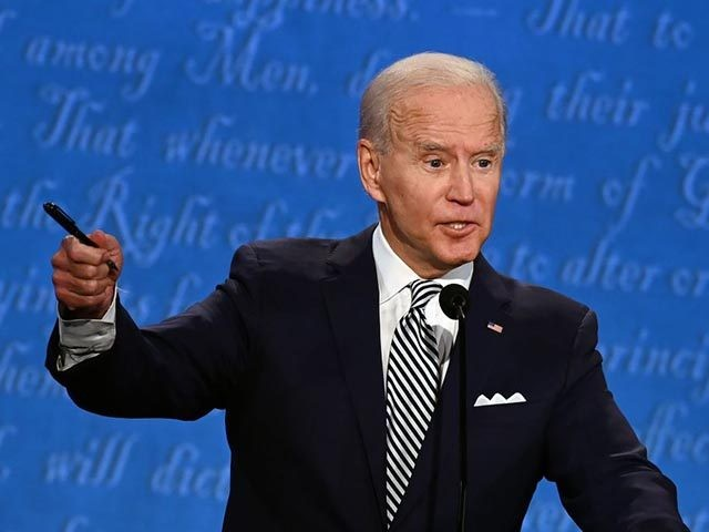 Democratic Presidential candidate and former US Vice President Joe Biden speaks during the first presidential debate at the Case Western Reserve University and Cleveland Clinic in Cleveland, Ohio on September 29, 2020. (Photo by Jim WATSON / AFP) (Photo by JIM WATSON/AFP via Getty Images)