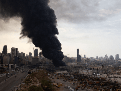 Smoke rises from a fire which has broken out at the Beirut Port on September 10, 2020 in Beirut, Lebanon. The fire broke out in a structure in the city's heavily damaged port facility, the site of last month's explosion that killed more than 190 people. (Photo by Sam Tarling/Getty …