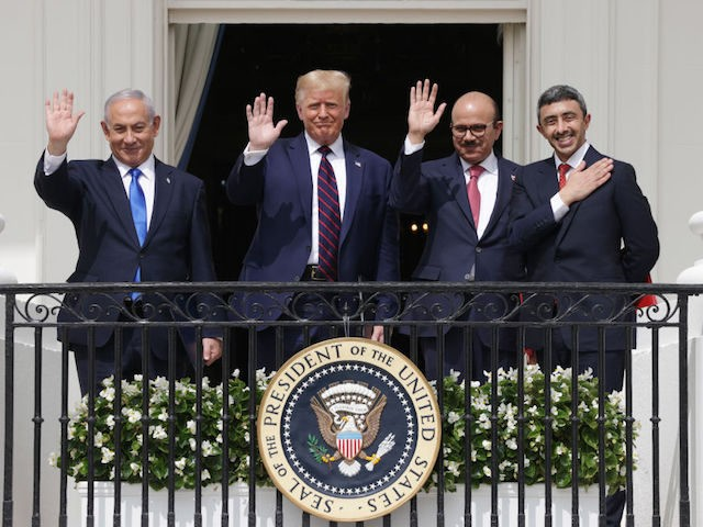 WASHINGTON, DC - SEPTEMBER 15: (L-R) Prime Minister of Israel Benjamin Netanyahu, U.S. President Donald Trump, Foreign Affairs Minister of Bahrain Abdullatif bin Rashid Al Zayani, and Foreign Affairs Minister of the United Arab Emirates Abdullah bin Zayed bin Sultan Al Nahyan participate in the signing ceremony of the Abraham …