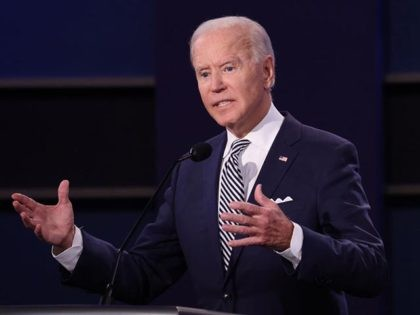 CLEVELAND, OHIO - SEPTEMBER 29: Democratic presidential nominee Joe Biden participates in the first presidential debate against U.S. President Donald Trump at the Health Education Campus of Case Western Reserve University on September 29, 2020 in Cleveland, Ohio. This is the first of three planned debates between the two candidates …