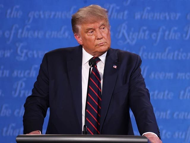 CLEVELAND, OHIO - SEPTEMBER 29: U.S. President Donald Trump participates in the first presidential debate against Democratic presidential nominee Joe Biden at the Health Education Campus of Case Western Reserve University on September 29, 2020 in Cleveland, Ohio. This is the first of three planned debates between the two candidates …