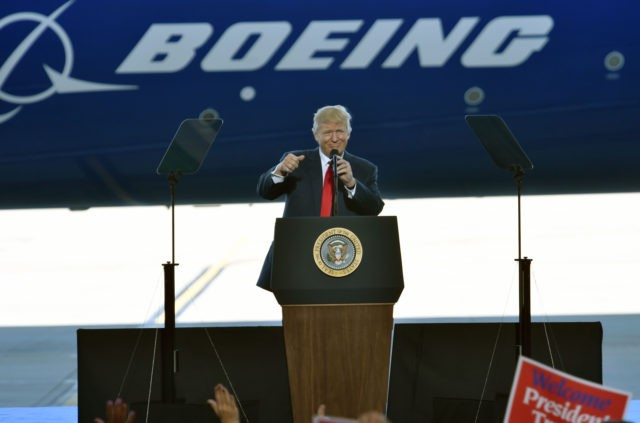 US President Donald Trump speaks at the Boeing plant in North Charleston, South Carolina, on February 17, 2017. / AFP / Nicholas Kamm (Photo credit should read NICHOLAS KAMM/AFP via Getty Images)