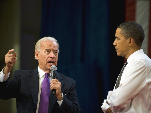 US President Barack Obama (R) and Vice President Joe Biden (L) speak during a town hall meeting at the University of Tampa in Tampa, Florida, January 28, 2010. Obama headed to Florida Thursday, hoping to use his defiant State of the Union address as a springboard for political recovery in …