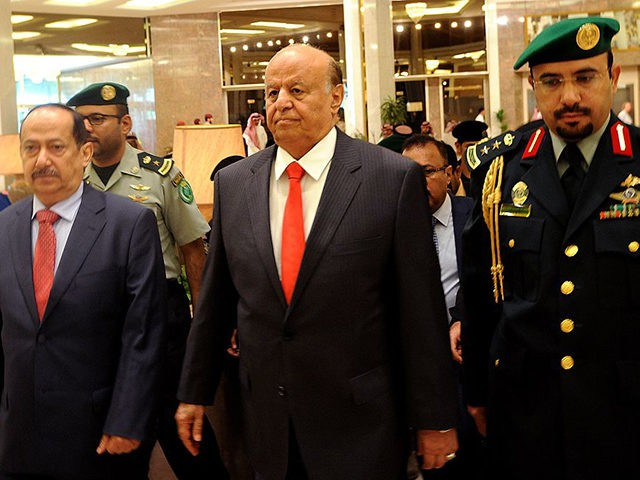 "Yemen's exiled President Abed Rabbo Mansour Hadi (C) arrives for the opening of ""Riyadh Conference for Saving Yemen and Building Federal State"" in the Saudi capital Riyadh, on May 17, 2015. The Huthis, who are fighting forces loyal to Hadi and have seized large parts of the country including the …"