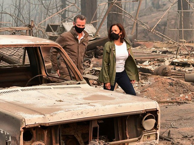 US Democratic vice presidential nominee and Senator from California, Kamala Harris and California Governor Gavin Newsom visit the scene of fire-ravaged property from the Creek Fire across from Pine Ridge Elementary School in an unincorporated area of Fresno, California on September 15, 2020. (Photo by Frederic J. BROWN / AFP) …