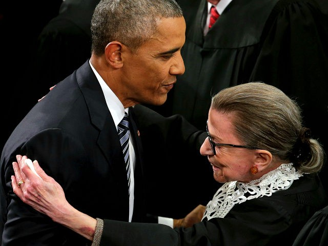 President Barack Obama greets Supreme Court Justice Ruth Bader Ginsburg on Capitol Hill in Washington, Tuesday, Jan. 12, 2016, before giving his State of the Union address before a joint session of Congress. (AP Photo/J. Scott Applewhite)