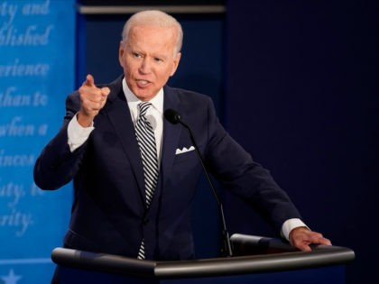Democratic presidential nominee Joe Biden participates in the first presidential debate against U.S. President Donald Trump at the Health Education Campus of Case Western Reserve University on September 29, 2020 in Cleveland, Ohio. This is the first of three planned debates between the two candidates in the lead up to …