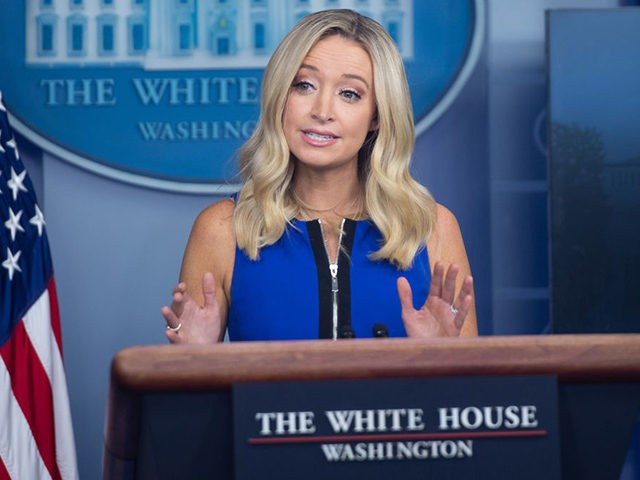 White House Press Secretary Kayleigh McEnany holds a press briefing in the Brady Press Briefing Room of the White House in Washington, DC, September 3, 2020. (Photo by SAUL LOEB / AFP) (Photo by SAUL LOEB/AFP via Getty Images)