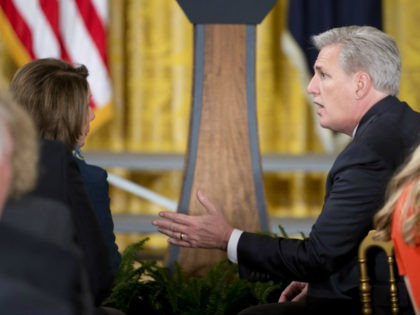 House Majority Leader Kevin McCarthy of Calif., right, talks with House Minority Leader Nancy Pelosi of Calif. as they wait for start of a ceremony where President Barack Obama honored the 2015 NBA Champions Golden State Warrior basketball, Thursday, Feb. 4, 2016, in the East Room of the White House …