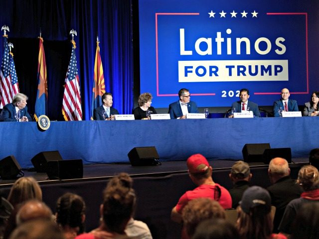 US President Donald Trump (L) and others participate in a roundtable rally with Latino supporters at the Arizona Grand Resort and Spa in Phoenix, Arizona on September 14, 2020. (Photo by Brendan Smialowski / AFP) (Photo by BRENDAN SMIALOWSKI/AFP via Getty Images)