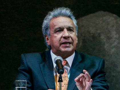 Ecuador's President Lenin Moreno speaks during the signing ceremony of the Chapultepec Declaration, a decalogue of principles on freedom of expression and press, in Quito on February 20, 2019. - The Declaration is based on the essential precept that no law or act of government may limit freedom of expression …