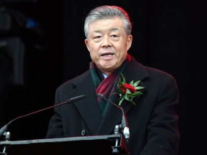 Chinese Ambassador to the UK, Liu Xiaoming addresses the crowds in Trafalgar Square during celebrations for the Chinese Lunar New Year in central London on January 26, 2020. - The Chinese Lunar New Year on January 25 ushered in the beginning of the Year of the Rat and the beginning …