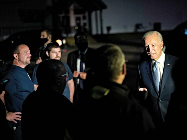 MOOSIC, PA - SEPTEMBER 17: Democratic presidential nominee and former Vice President Joe Biden talks with local firefighters as he leaves a CNN town hall event on September 17, 2020 in Moosic, Pennsylvania. Due to the coronavirus, the event is being held outside with audience members in their cars. Biden …