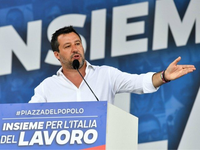 Head of the League party Matteo Salvini delivers a speech during a united rally with Brothers of Italy (FdI) and Forza Italia (FI) parties against the government on July 4, 2020 on Piazza del Popolo in Rome, as the country eases its lockdown aimed at curbing the spread of the …