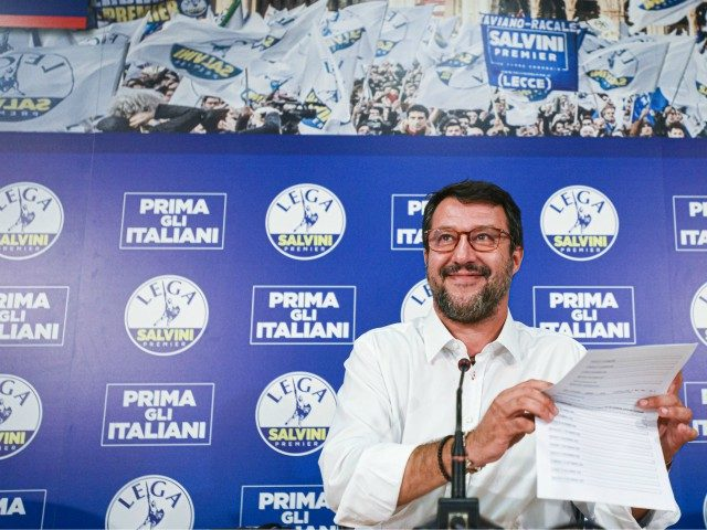Head of the Lega party, Italian senator Matteo Salvini addresses a press conference at the Lega headquarters in Milan, Italy, on September 21, 2020 within a nationwide referendum vote on cutting parliament numbers, and regional elections held at the same time. (Photo by Piero CRUCIATTI / AFP) (Photo by PIERO …