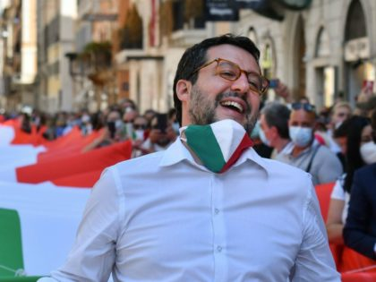 Head of the League party Matteo Salvini attends a rally of his party united with the Brothers of Italy (FdI) party and the centre-right Forza Italia (FI) party for a protest against the government on June 2, 2020 on Piazza del Popolo in Rome, as the country eases its lockdown …