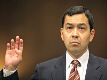 President Bush's nominee for a seat on the District of Columbia Court of Appeals, Miguel Estrada is sworn in at his Senate Judiciary Committee confirmation hearing Thursday, Sept. 26, 2002 in Washington. Estrada promised senators he would have an open mind and follow the facts instead of his personal views …