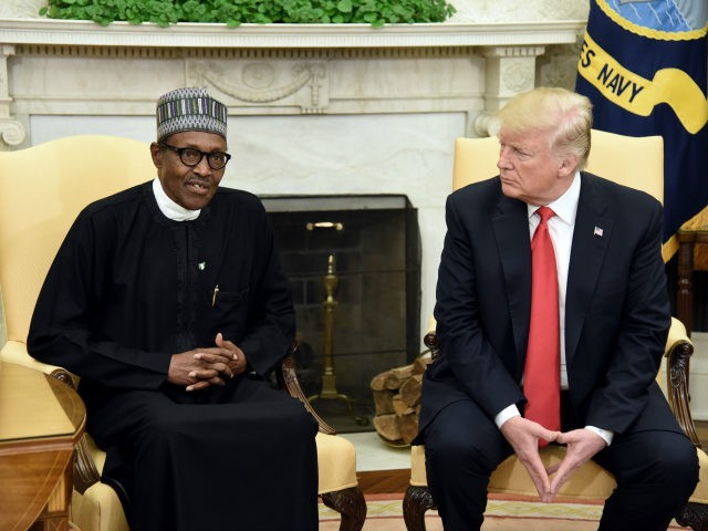 US President Donald Trump (R) meets with Nigerian President Muhammadu Buhari in the Oval Office of the White House on April 30, 2018 in Washington, DC. The two leaders are scheduled to discuss a range of bilateral issues and hold a joint press conference later in the day. (Photo by …