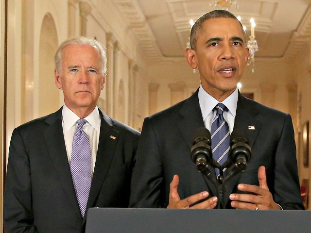 President Barack Obama, standing with Vice President Joe Biden, delivers remarks in the East Room of the White House in Washington, Tuesday, July 14, 2015, after an Iran nuclear deal is reached. After 18 days of intense and often fractious negotiation, diplomats Tuesday declared that world powers and Iran had …