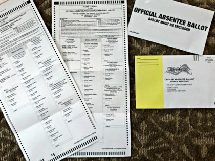 Absentee ballots are seen, Saturday, Sept. 26, 2020, in Cobb County, Ga. (AP Photo/Mike Stewart)